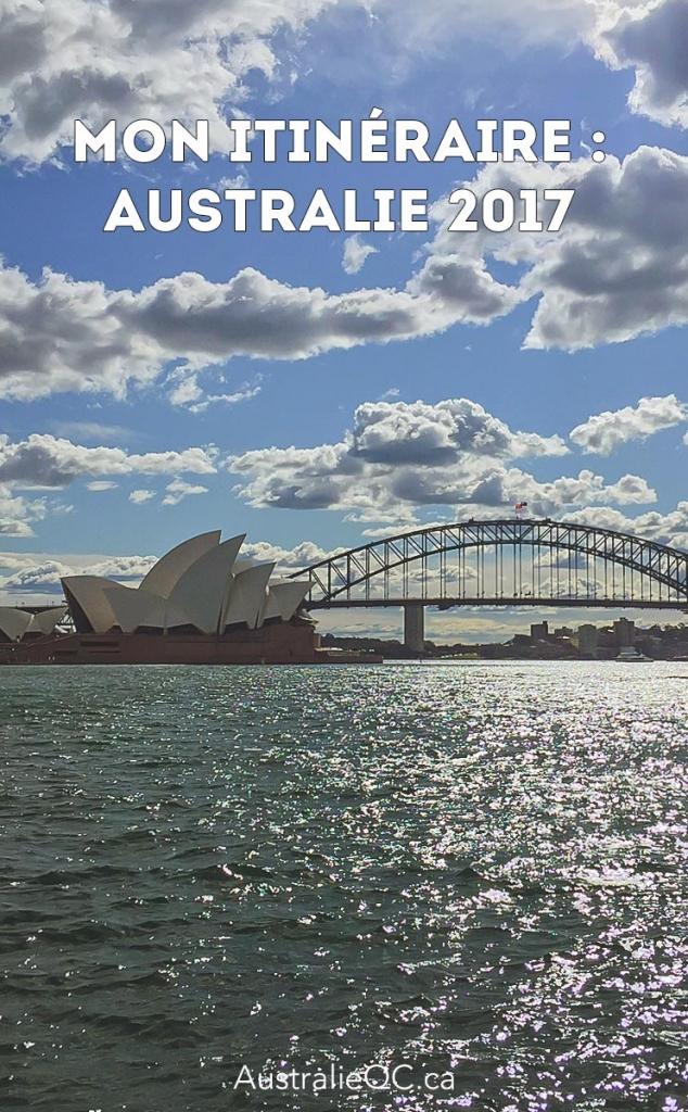 Image pour Pinterest : itinéraire australie 2017